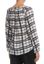 Nucleus - Grid-print V-neck Blouse Black/White Black and White