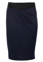 edit - Navy & black pencil skirt Black and Blue