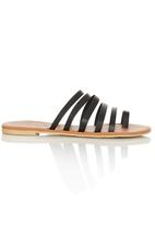 edit - Leather Strappy Sandals Black