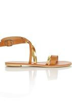 edit - Leather Sandals with Cross- over Straps Multi-colour