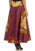 AfroDizzy - Long African-print Skirt Pink