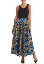 AfroDizzy - Long African-print Skirt Blue