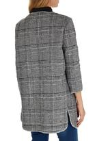 ZANZEA - Plaid Oversized Cardi Coat Black and White