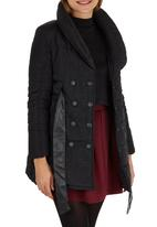 ZANZEA - Puffer Coat with Leather-look Belt Black