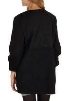 ZANZEA - Oversized Contrast Coat Black