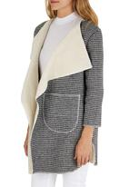 ZANZEA - Houndstooth Oversized Cardi Coat Black and White
