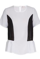 edit - Colour-blocked peplum blouse Black and White