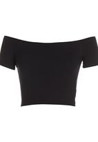 c(inch) - Off-the-shoulder Cropped Tank Top Black