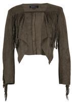 ZANZEA - Suedette Fringe Cropped Jacket Khaki Green