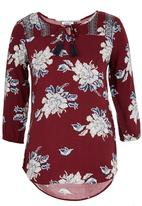 ONLY - Chamenz Patterned Tunic Dark Red
