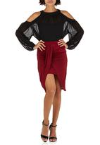 London Hub - Draped Slinky Mini Skirt Red
