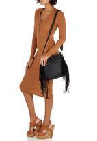 STYLE REPUBLIC - Side Fringe Cross-Body Bag Black