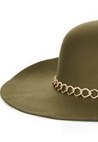 STYLE REPUBLIC - Chain Trim Floppy Hat Khaki Green