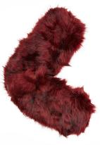 ELIGERE - Faux Fur Capelet Dark Red