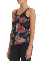 STYLE REPUBLIC - Floral Camisole Black