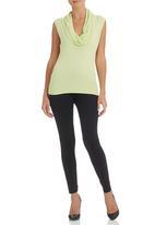 Passionknit - Lime cowl neck knitwear vest Light Green