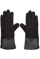 edit - Fabric Gloves with Quilted Cuff Black