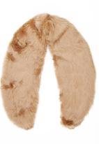 c(inch) - Faux Fur Collar Mid Brown