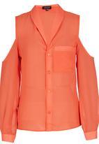 c(inch) - Cut-out Shoulder Shirt Coral