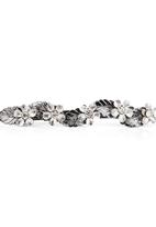 edit - Flowers and Leaves Hairclip Silver