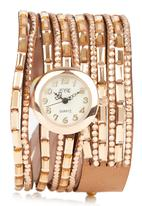 STYLE REPUBLIC - Wrap-around Bead Strap Watch Mid Brown