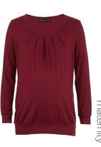 Cherry Melon - Pleated Top with Long Sleeves Dark Red Dark Red