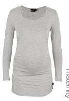 Cherry Melon - Round Neck Top with Side Detail Long Sleeve - Light Grey Melange