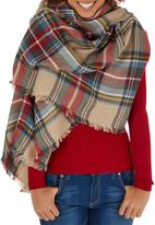c(inch) - Plaid Oversized Scarf Beige