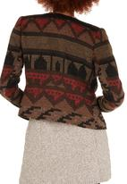 ONLY - Kim Cloud Aztec Cropped Jacket Mid Brown