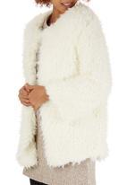 c(inch) - Fuzzy Faux Fur Jacket Milk
