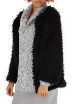 c(inch) - Fuzzy Faux Fur Jacket Black
