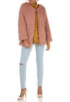 c(inch) - Fuzzy Faux Fur Jacket Mid Pink