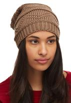 edit - Patterned Oversized Beanie Mid Brown