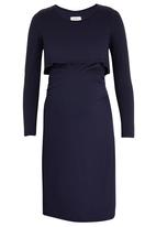 edit Maternity - Double Layer Long Sleeve Bodycon Dress Navy