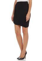 c(inch) - Draped Midi Skirt Black