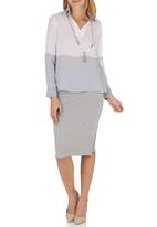 c(inch) - Contrast Blouse Grey