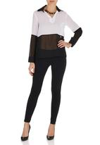 c(inch) - Contrast blouse Black and White