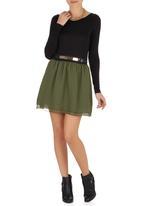 c(inch) - Flare Mini Skirt Mid Green Mid Green