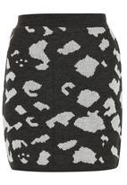 Spree Designer - Charcoal animal knit mini skirt Dark Grey