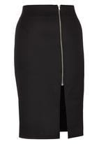 c(inch) - Midi Bodycon Skirt with Zip Black