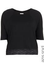 edit - Panel Lace T-shirt with Long Sleeves Black