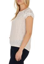 edit - Lace-inset cut and sew top White