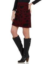 Spree Designer - Burgundy animal knit mini skirt Dark Red