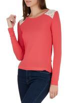 edit - Inset T-shirt Coral