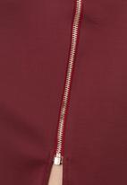 c(inch) - Midi Skirt with Zip Detail Dark Red Dark Red