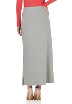 edit - Maxi Skirt with Side Slit Grey Mid Grey