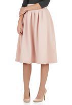Spree Designer - Blush high waisted midi skirt Pale Pink