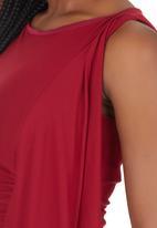 Gert-Johan Coetzee - Ruched Cascade Dress Dark Red Dark Red