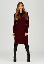 STYLE REPUBLIC - Rib Midi Jersey Dress Dark Red
