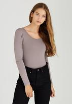 c(inch) - Long Sleeve Fitted Bodysuit Camel